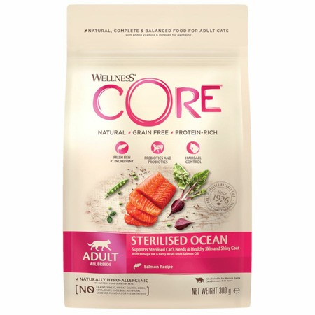 Беззерновой cухой корм Wellness Core Sterilised для кастрированных котов и кошек с лососем - 0,3 кг