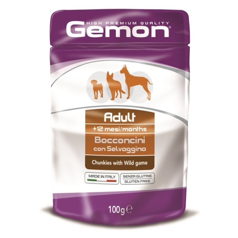 Gemon Gemon Dog Pouch паучи для собак кусочки дичи - 100 гр х 24 шт