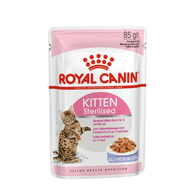 ROYAL CANIN Влажный корм Royal Canin Kitten Sterilised для котят кусочки в желе в паучах - 85 г cat wet food royal canin kitten sterilized kitches for kittens pieces in jelly 24 85 g